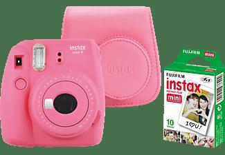 FUJIFILM Instax Mini 9 + Case + Film Sofortbildkamera , Flamingo Pink
