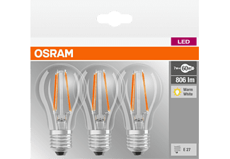 OSRAM 819290 LED Base Fil60 3er Pack LED Leuchtmittel E27 Warmweiß 7 Watt 806 Lumen