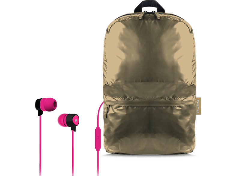 PURO Αναδιπλούμενο σακίδιο + Stereo Earphone Pink (BPPLUME1GOLD ) laptop  tablet  computing  laptop τσάντες  θήκες