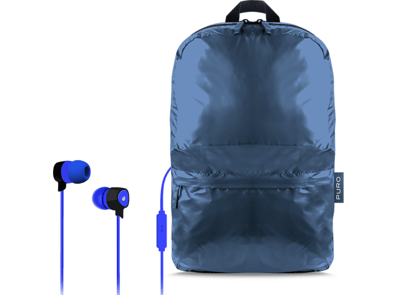 PURO Αναδιπλούμενο σακίδιο + Stereo Earphone Blue (BPPLUME1BLUE) laptop  tablet  computing  laptop τσάντες  θήκες