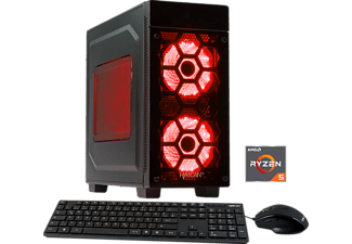 HYRICAN STRIKER 5651 RED 1500X/8GB/120GB SSD+1TB, Gaming PC mit Ryzen™ 5 Prozessor, 8 GB RAM, 120 GB SSD, 1 TB HDD, Geforce® GTX 1050 Ti, 4 GB GDDR5 Grafikspeicher