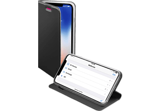 SBS MOBILE Book Case With Stand Function till iPhone X - Mörk Silver