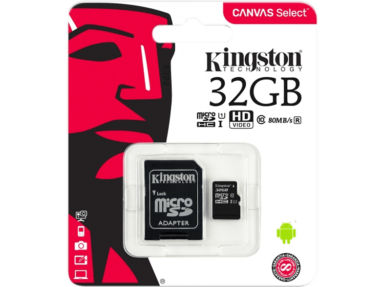 KINGSTON Kingston microSDHC 32GB Canvas Select Card and SD Adapter laptop  tablet  computing  tablet   ipad κάρτες μνήμης hobby   φωτογραφία φωτογρ