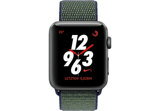APPLE  Nike Sport Loop Smartwatch Aluminium/Gehäuseboden aus Keramik gewebtes Nylon, 145 - 220 mm, Space Grey