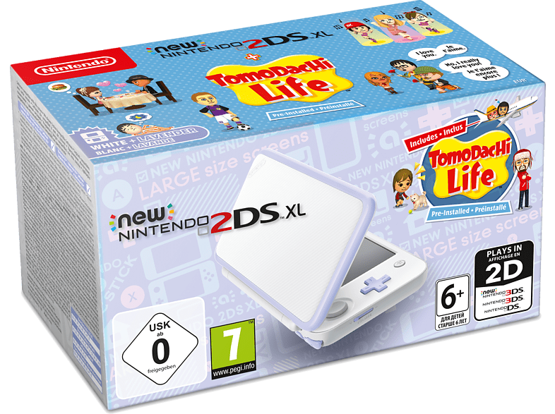 NINTENDO 2DS New XL white and Lavender μαζί με το Tomodachi Life (DLC) gaming φορητές κονσόλες κονσόλες 2ds  3ds gaming κονσόλες κονσόλες nintendo