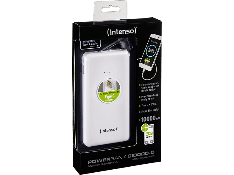 INTENSO Power Bank S10000mAh W Type C Cable Slim White smartphones   smartliving powerbanks
