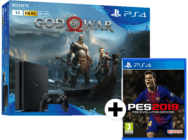 SONY PS4 1TB E Chassis Black μαζί με GOW και PES 2019 gaming κονσόλες κονσόλες ps4