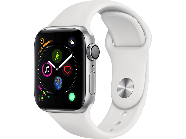 APPLE Watch Series 4 44mm Silver με Λευκό Sport Band smartphones   smartliving wearables smartwatches