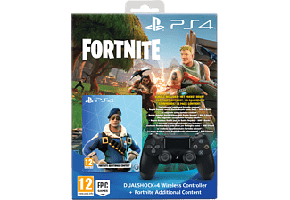 Sony Dual Shock 4 Controller V2 (Black) + Fortnite Content