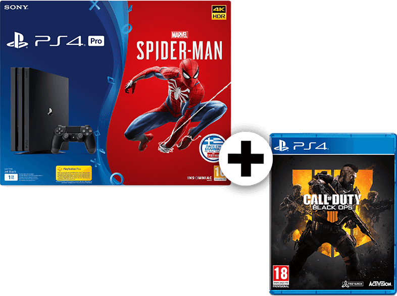SONY Set PS4 Pro 1TB μαζί με Spiderman ST Edition και Call Of Duty Black Ops IV gaming κονσόλες κονσόλες ps4