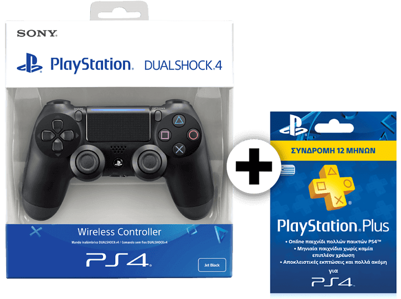 SONY PS4 Dualshock 4 V2 Black μαζί με PS Plus Card Hang 365 Days gaming απογείωσε την gaming εμπειρία αξεσουάρ ps4