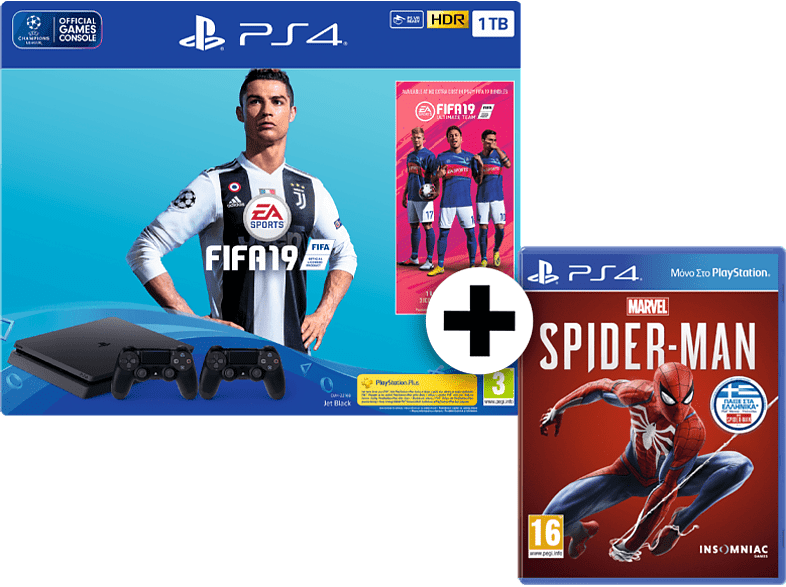 SONY Set PS4 1TB F Chassis μαζί με PS Plus Voucher, FIFA 19, Spiderman και 2ο χε gaming κονσόλες κονσόλες ps4