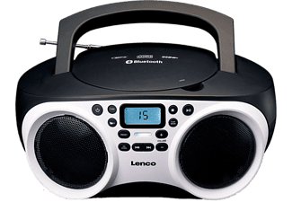 Lenco SCD-501 FM CD-radio AUX, Bluetooth, CD, FM, USB Wit, Zwart