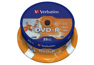 VERBATIM DVD-R AZO 16X 4.7GB WIDE PRINTABLE SURFACE 25