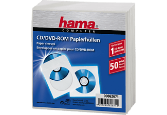 HAMA 62671 CD/DVD Paper Sleeves, pack of 50, White