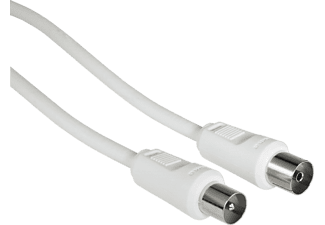 HAMA 11905 Antenna Cable, coax plug - coax socket, 3 m, 85 dB, White