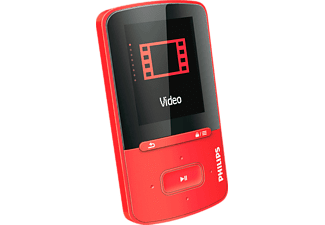 PHILIPS SA 4 VBE 04RN, MP4 Player, 4 GB, Akkulaufzeit: bis zu 20 Std. (Audio), 4 Std. (Video), Rot