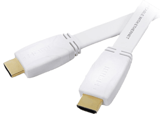 VIVANCO HDMI High Speed Ethernet kabel, flat/guld, 3m, vit