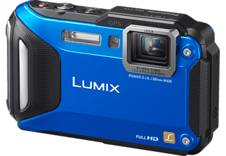 PANASONIC Lumix DMC-FT5 Kompaktkamera, 16.1 Megapixel, 4.6x opt. Zoom, Live-MOS Sensor, Near Field Communication, WLAN, 28-128 mm Brennweite, Autofokus, Blau