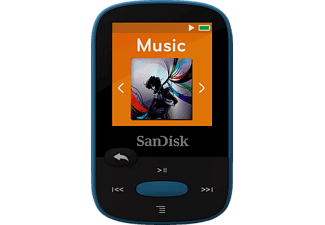 SANDISK SanDisk Clip Sport, Mp3-Player, 8 GB, Akkulaufzeit: 25 h, Blau