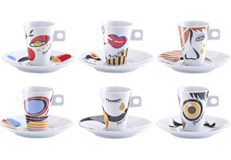 "ZELLER 26505, Espresso-Set, 12-tlg., ""Faces"", Porzellan"