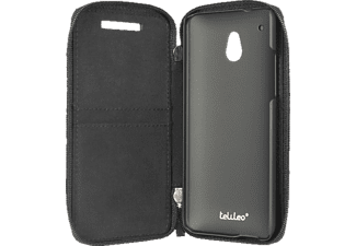 3610 Zip Case Bookcover HTC One mini Polycarbonat/Echtleder Zero Schwarz