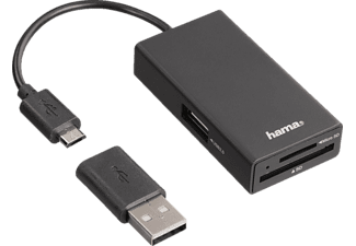 HAMA USB-2.0-OTG-Hub/Kartenleser für Smartphone/Tablet/Notebook/PC (54141)