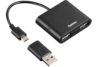 HAMA USB-2.0-OTG-Hub 1:2 für Smartphone/Tablet/Notebook/PC (54140)