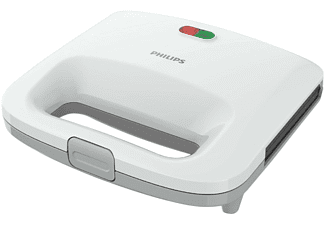 Sandwichera - Philips HD2392/00 Color Blanco, Capacidad para 2 sandwiches, Material antiadherente