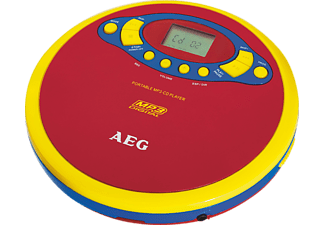 AEG. CDP 4228, Tragbarer CD Player, Rot/Gelb/Blau