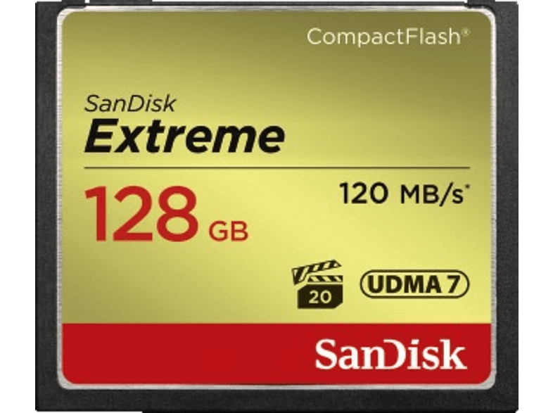 SANDISK Extreme, Compact Flash Speicherkarte, 128 GB, 120 MB/s