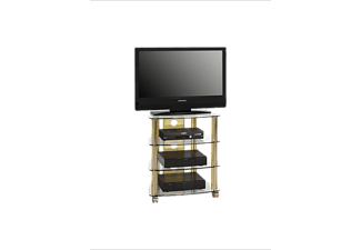MAJA 16099978 1609, TV- und HiFi-Rack, Messing - Klarglas