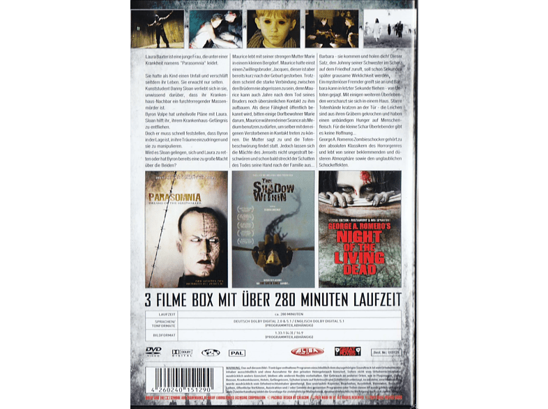 Best of Ghost & Zombies: Parasomnia + Shadow Within + Night of the Living Dead [DVD]