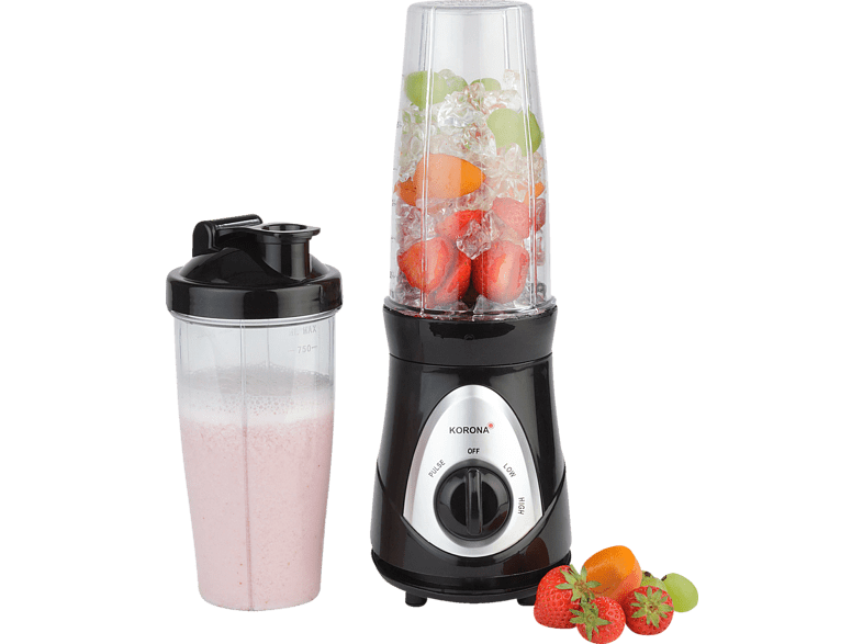 KORONA 24200 Smoothie Maker Schwarz (300 Watt, 2 x 0.75 l)