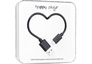 HAPPY PLUGS microUSB Charge/Sync kabel Zwart (153247)