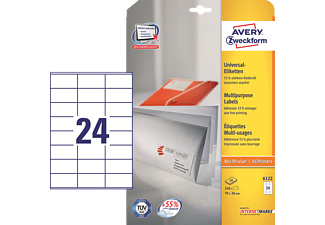 AVERY ZWECKFORM Tiquettes Universelles 70 X 36 Mm Blanc