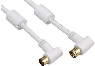 HAMA Antenna Cable, coax plug - coax socket, 90°, gold-plated, 1.5 m, 95 dB - (00122418)