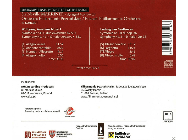 Poznan Philharmonic Orchestra - Marriner: Jupiter Symphony - Symphony No. 2 [CD]