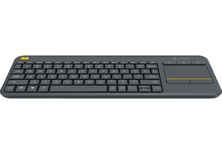 Teclado inalámbrico - Logitech K400 plus, Wireless, Touch, Negro