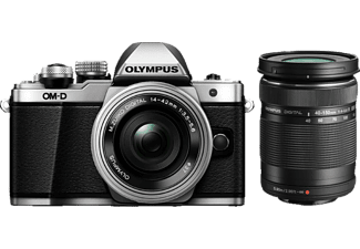 OLYMPUS E-M10 Mark II Double Kit EZ-M 14-42mm EZ μαζί με 40-150mm R Silver - (V207053SE000)