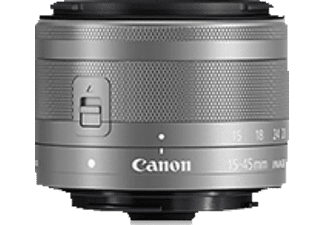 CANON EF 15-45 mm IS STM 15 mm-45 mm f/3.5-6.3 IS, Weitwinkelzoom, System: Canon EF-M, Bildstabilisator, Silber