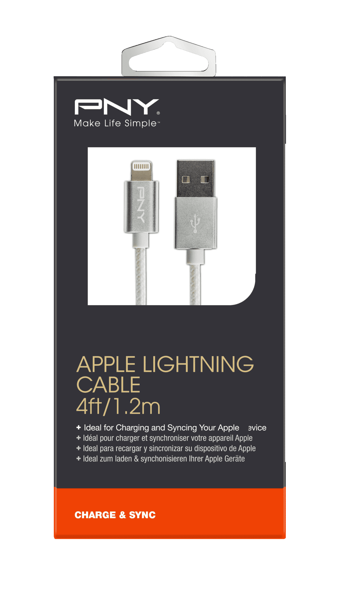 PNY C-UA-LN-S01-04 CHARGE & SYNC CABLE 1,2M SILVER, Lightning Lade- und Synchronisationskabel, 1.2 m | 03536401519652