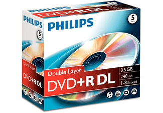 PHILIPS Pack 5 DVD+R DL 8.5 GB 8 x (DR8S8J05C/00)