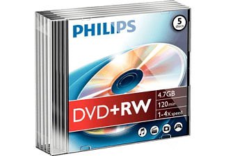 PHILIPS Pack 5 DVD+RW 4.7 GB 4x (DW4S4S05F/10)