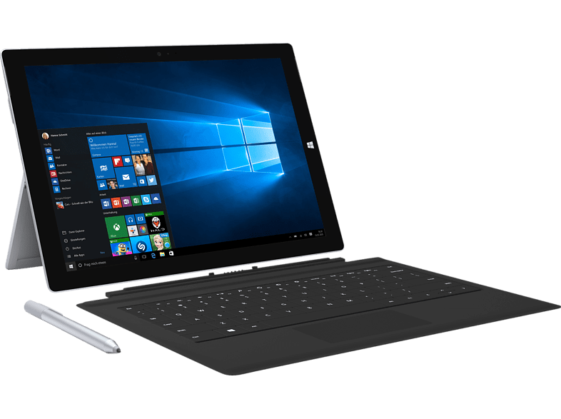 MICROSOFT  Surface Pro 3 inkl. Surface Pro Type Cover Schwarz , Intel®Core™ i5, 128 GB Flash, 4 GB RAM, Silbergrau | 00889842018745