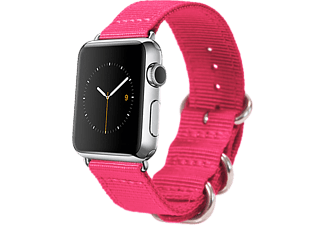 MONOWEAR Apple Watch Nylonrem med Matt Stålfäste 38 mm - Rosa/Mörkgrå