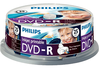 PHILIPS Pack 25 DVD-R 4.7 GB 16x Imprimable (DM4I6B25F/00)