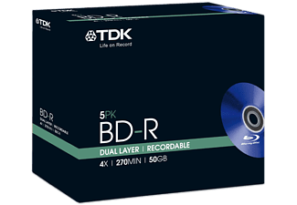 TDK Pack 5 BD-R 50 GB 4 x Double couche (T78010)