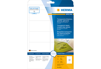 HERMA 8018 Etiketten transparent  96x50.8 mm A4 25 St.