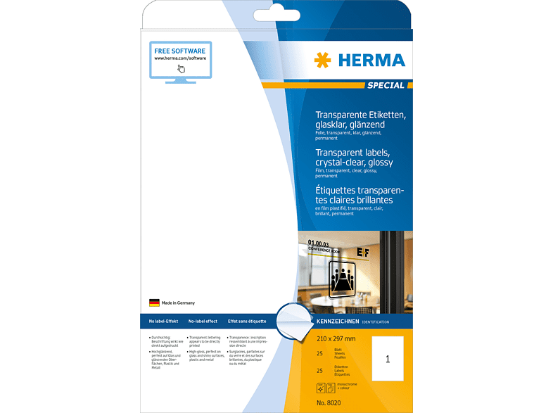 HERMA 8020 Etiketten transparent  210x297 mm A4 25 St.